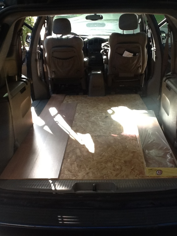 The beginning of laying floor in my van