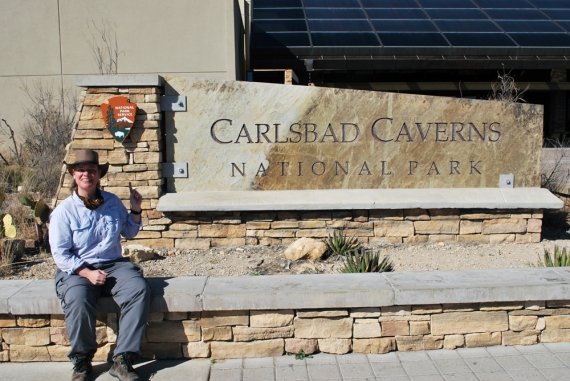 Here at the vast cave mazes at Carlsbad Caverns on fee free weekend for Presidents' Day Weekend! So I had absolutely no problem finding someone to take the photo! It was a popular spot...only being 45 miles from Carlsbad, NM.