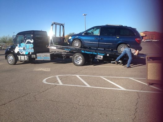 BigBlue on tow truck