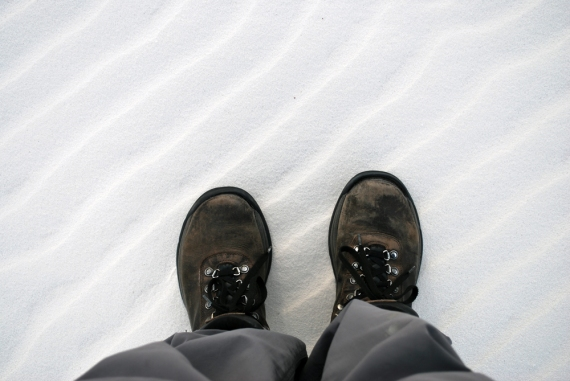 shoes in white sands