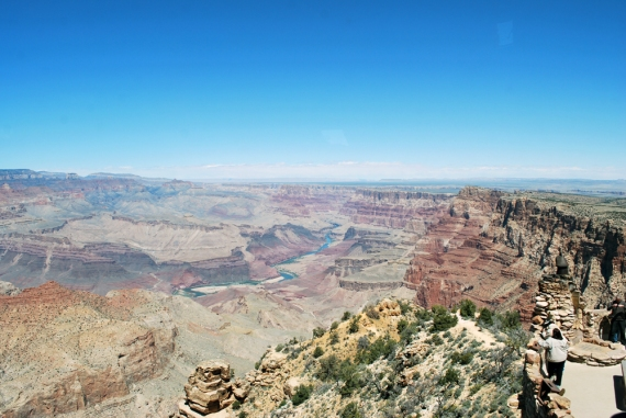 A picture of the Colorado River carving its way through the Grand Canyon from Desert View House on the eastern end of the Canyon.
