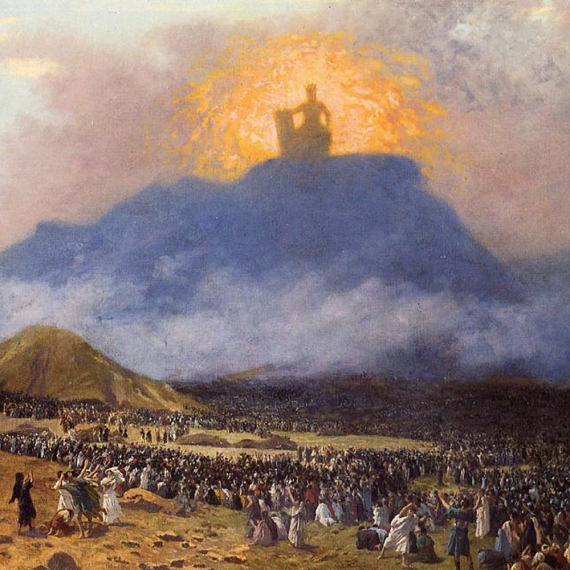 Thunder and fire surrounding Mt. Sinai where God inscribed the 10 Commandments on the tablets for Moses and the Israelites.