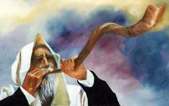 Moses blowing the horn