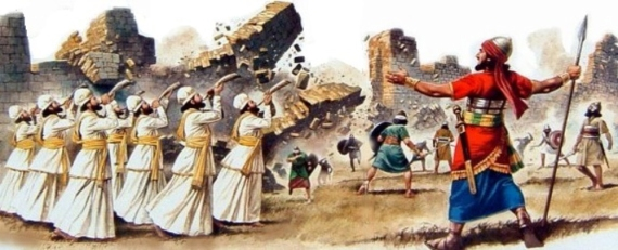 Joshua and the Israelites marching around the walls of Jericho